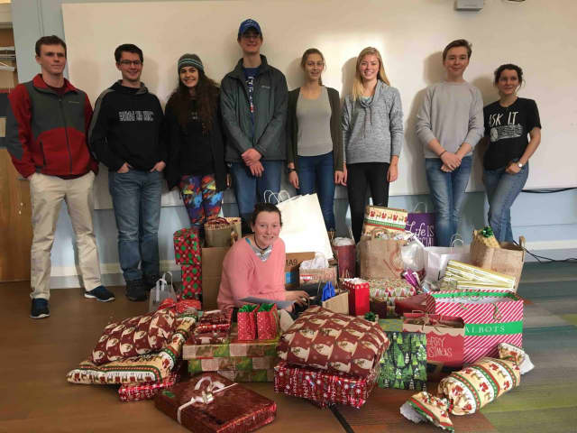 Bronxville High School students collected gifts for approximately 100 veterans at the New York State Veterans' Home at Montrose.