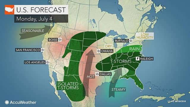 It will be a stormy July 4th for much of the U.S. on Monday, but this area should enjoy sun during the day.