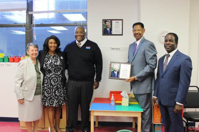 Gathering during the dedication ceremony are, from the left: Dorothea Muccigrosso, director of the Ace It! Program; Dr. Waverly Bennett-Conroy, Bishop C. Nathan Edwers of the Friendship Worship Center; Superintendent Dr. Kenneth R. Hamilton.