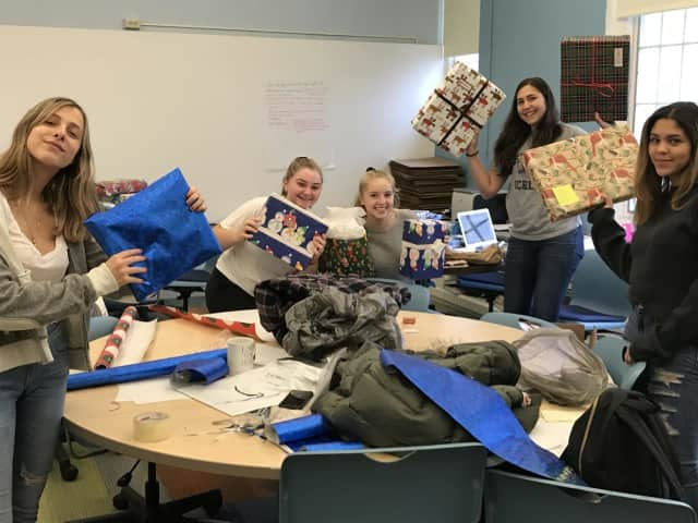 left) Bronxville High School students Chloe Slater, Amelia Srebnik,