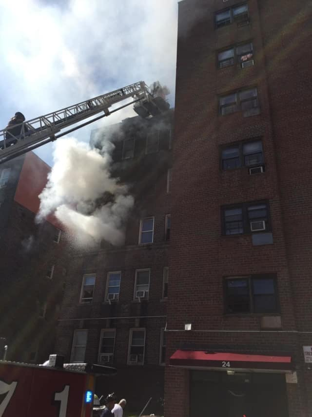 Yonkers firefighters battled the blaze at the Yonkers apartment complex that was partially destroyed by fire on Monday.