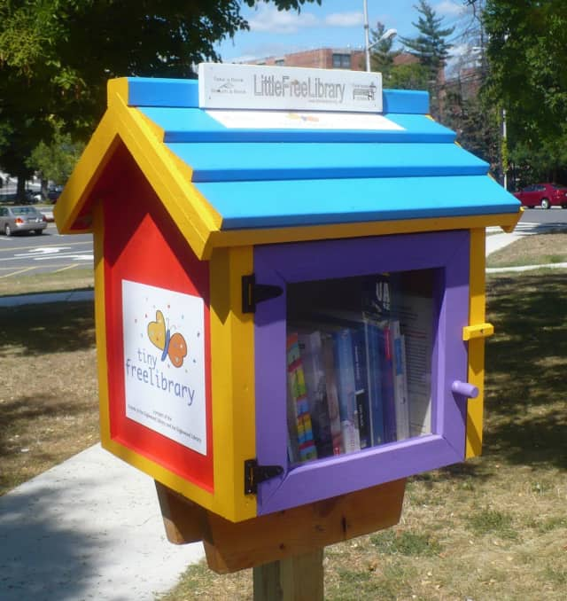 The Tiny Free Library at the corner of North Dean Street and Demarest Avenue in Englewood is a prototype for other possible tiny libraries around town, sponsored by the Friends of the Englewood Library and the Englewood Library