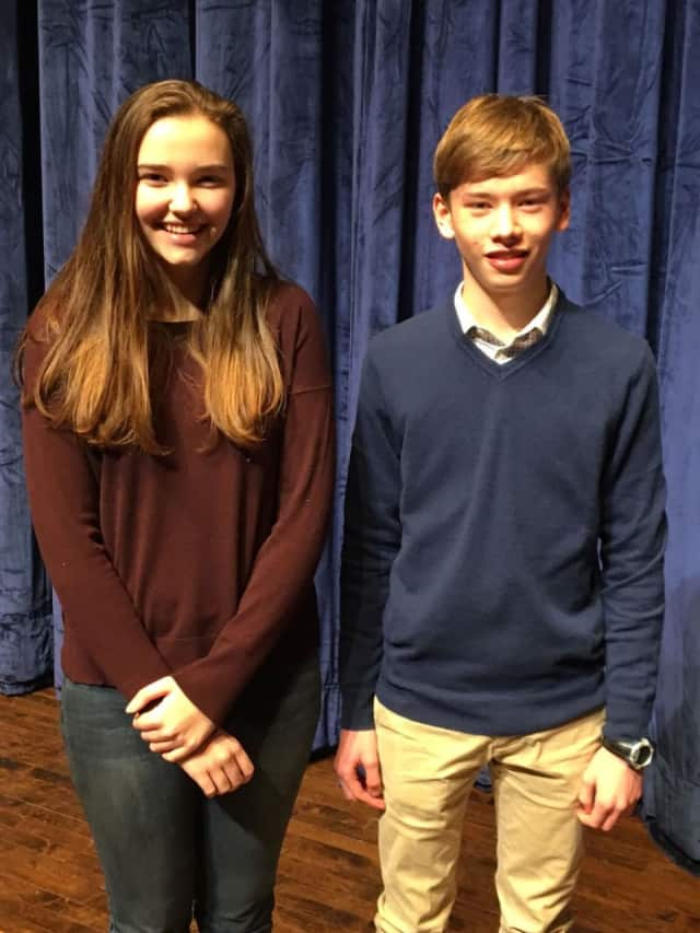 Bronxville High School sophomores Olivia Lewis and Jack Kochansky named winner and runner-up, respectively, in the school-wide Poetry Out Loud competition.