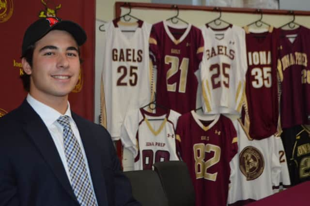 Andrew Cannistraci is wrapping up his career as a thrower on the Iona Prep track and field team. He'll head to Northeastern on an athletic scholarship in the fall.