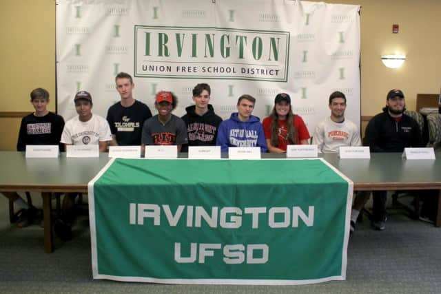 Irvington High School seniors announced their commitment to play sports at colleges during a ceremony.