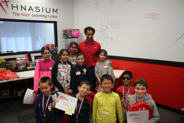 The local winners of last year's TriMathalon at Mathnasium in Scarsdale.