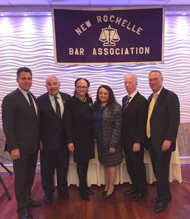 From left, Westchester Surrogate Brandon R. Sall; Ronald Zezima, NRBA board member; Paula Johnson Kelly, NRBA president; Nelida Malave-Gonzalez, Bronx surrogate; Thomas Walsh, Rockland surrogate; and Jeffrey Levin, NRBA vice president.