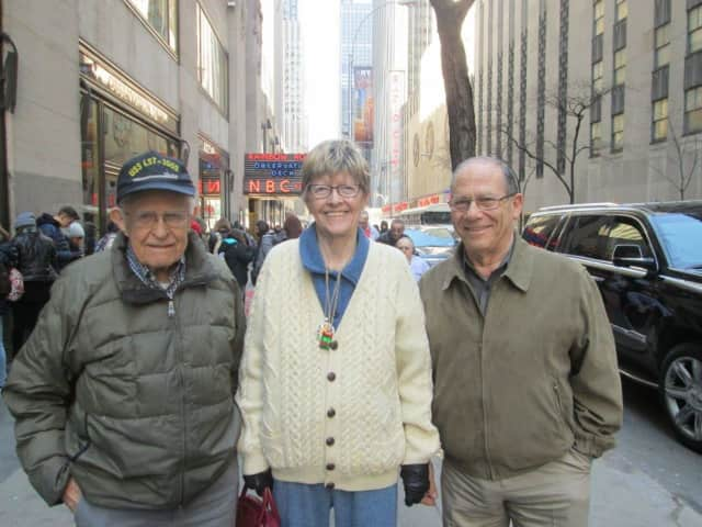 Pictured in front of NBC studios, from left, are Ed Glowaski, Patty Smith and Peter Furnari.