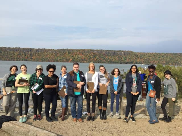 Sarah Lawrence Art of Teaching graduate students on a recent visit to the Center for Urban River at Beczak environmental education center in Yonkers.
