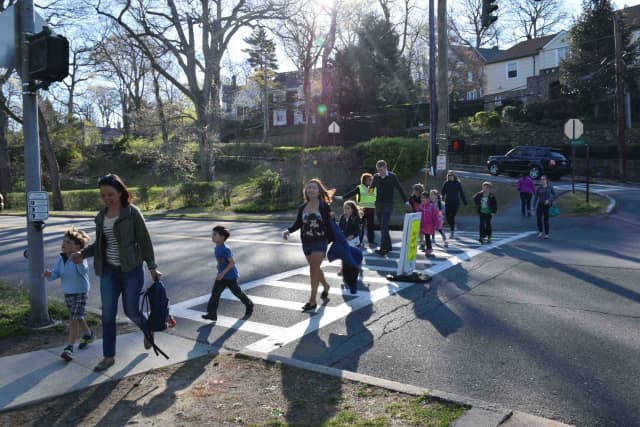 Bronxville Elementary School students and their families walked to school last week in honor of Earth Day.