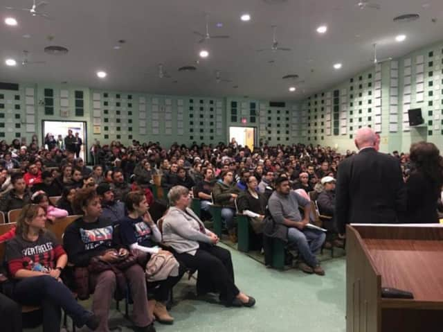 More than 500 people attended the Feb. 16 immigration forum at Columbus Elementary, which included a presentation by the Westchester Hispanic Coalition that addressed issues related to immigration laws.