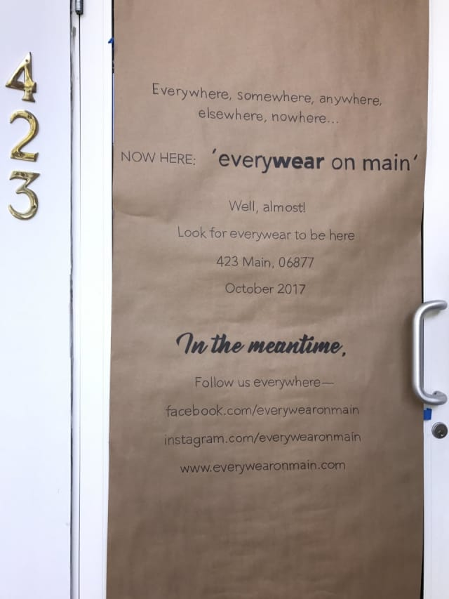 Signage for the new Everywear on Main, coming soon to Ridgefield.