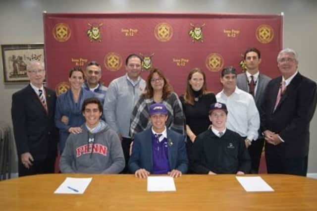 National Letter of Intent signers (left to right) Ryan Telesca, Anthony Piccolino and Dylan Sabia were surrounded by family and coaches during a signing ceremony at Iona Prep.