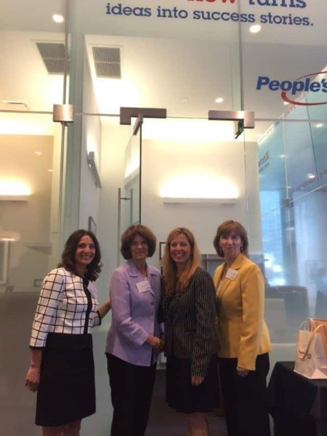 Karen Galbo, director of People's United Community Foundation; Anne Janiak, executive director of WEDC; Paula Saraiva, customer service manager, People's United Bank; Kathy Halas, executive director, Child Care Council of Westchester.