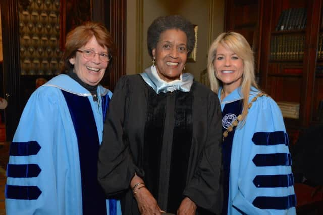 From left, Elizabeth Bell LeVaca, chair of the board of trustees, The College of New Rochelle; Myrlie Evers-Williams; and Judith Huntington, president, The College of New Rochelle.
