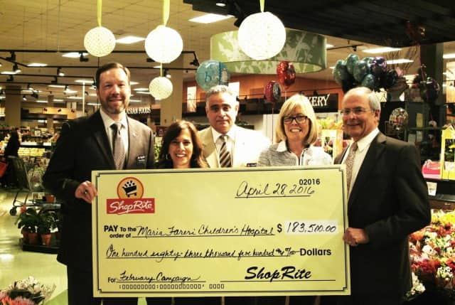 From left, Tom Urtz, Josie Long and John Salcito from Shoprite; Lianne Hales Dugan from Westchester Medical Center Foundation; Dr. Michael Gewitz, from Maria Fareri Children's Hospital.