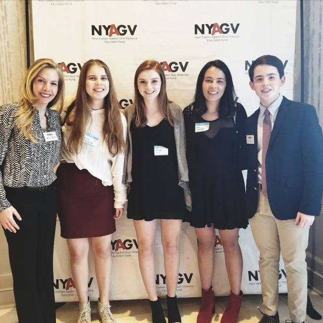 (from left) Bronxville High School teacher Christina Reidel and students Viena Pentikainen, Esther Devitt, Kiki Shinsato and Michael Randall.