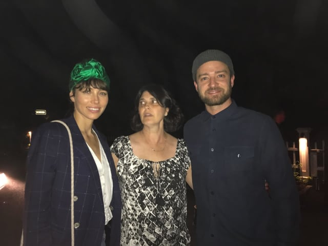 Jessica Biel and Justin Timberlake with Pleasantville resident (and fellow diner) Roberta Lasky at The Inn at Pound Ridge.