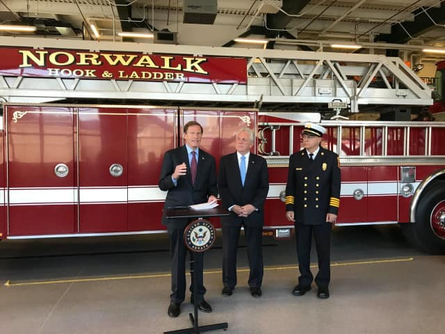 U.S. Sen. Richard Blumenthal announces a grant Thursday at the Norwalk Fire Department.
