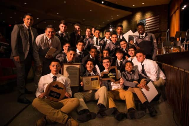 New Rochelle High School's boys' soccer team broke a decades' long state title drought when it defeated Fairport High School 2-1 in November.