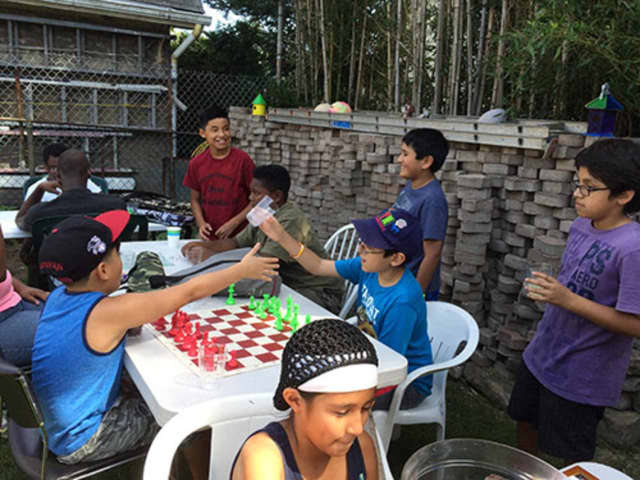 The Columbus Chess Club at their annual barbecue in New Rochelle.