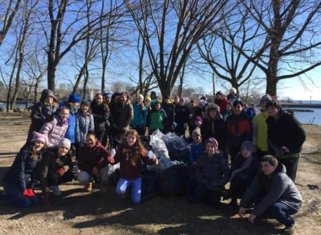 New Rochelle students volunteered during a day of service.