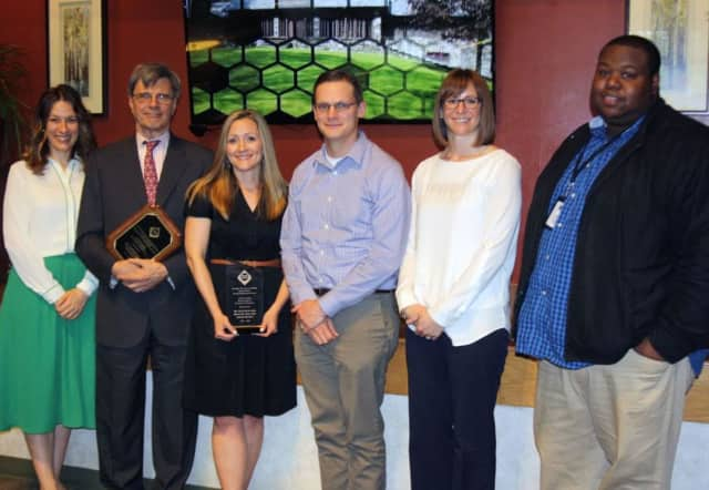 Bronxville Schools Superintendent David Quattrone and Director of Technology Jennifer Forsberg (far left) were among the honorees for implementing tech improvements in the district.
