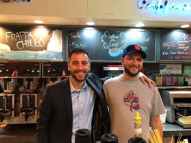 Michael Contopoulos, left, and John Minotti, right, of Sunshine Coffee Roasters in Larchmont.
