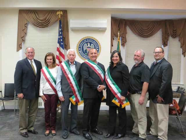 Eastchester Supervisor Anthony S. Colavita, Honorees Diane Senderoff and Elliot Senderoff, Grand Marshal James Romeo, Honoree Rita Mastroberadino, Grand Sponsor Will Humphreys of Value Drugs and Committee Chairman Stuart Rabin.
