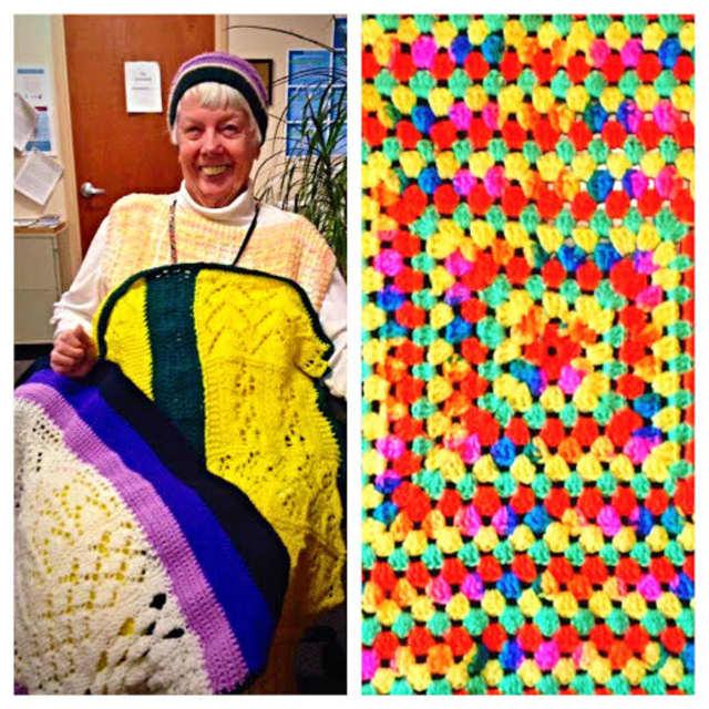 Bobbe Kastner, left, is a volunteer knitter in the Jansen Hospice lap robe program, and originator Valerie Schneer of Tuckahoe made the blanket on the right.