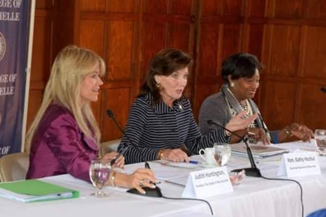 Fom left, Judith Huntington, president, The College of New Rochelle; New York State Lt. Gov. Kathy Hochul; and State Sen. Andrea Stewart-Cousins recently attended a women's conference at the college.