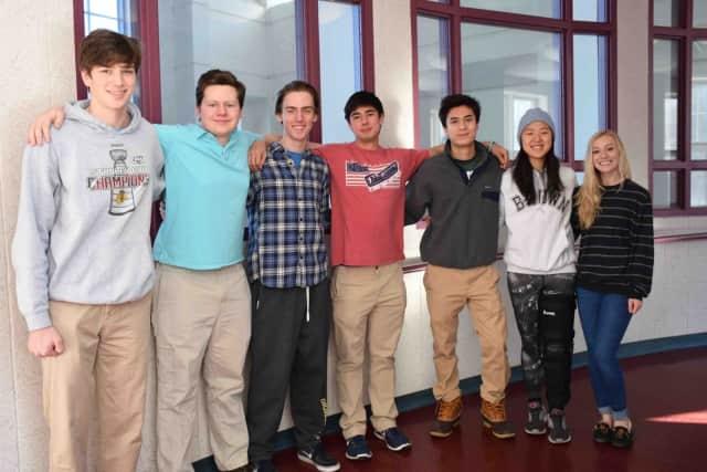 From left, Bronxville High School seniors Brian Kradjel, Charles Vorbach, Samuel Arcano, James Swartz, Ethan Reich, Audrey Kim and Margaret McKelvy were selected as finalists in the 2017 National Merit Scholarship Program.