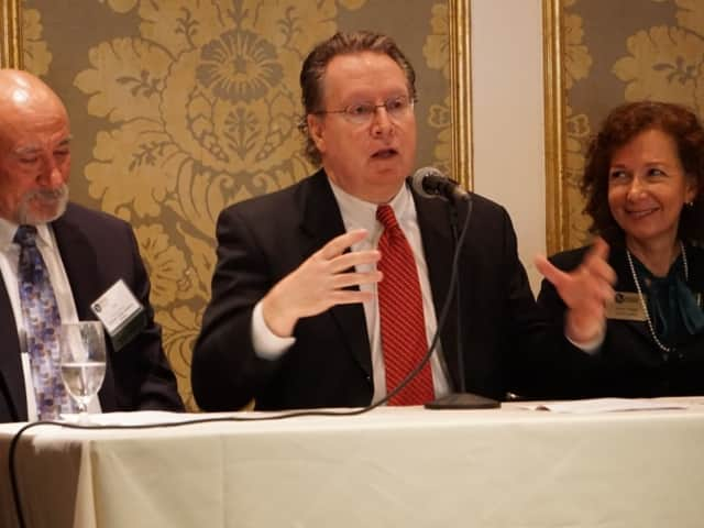 (l. to r.): Thomas Eastwick,  Eastwick College founder and president, Berkeley President Michael J. Smith, Felician University President Anne M. Prisco