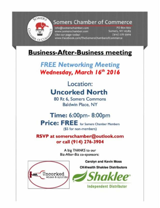 A flier for a Somers Chamber of Commerce networking event.