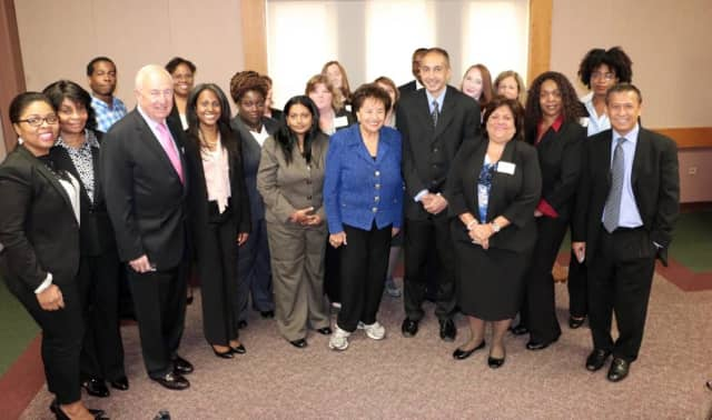 U.S. Rep. Nita Lowey with graduates of the Jobs Training program.