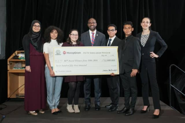 FSCNY College Scholarship Winners 2016 and Assembly Member Michael Blake. (L-R) Sara Taha, Zahra Aboul-Hassan, Rose Reiken, State Assemblyman Michael Blake, Jerson Mejia-Castro, Rahat Hossan, and Julianne Sanscartier.