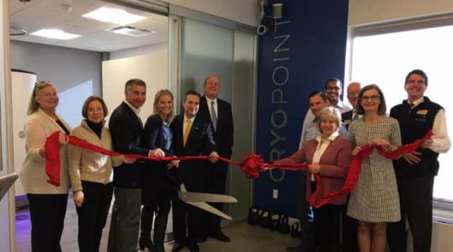 The Darien Chamber of Commerce and local officials celebrate the opening of CryoPoint