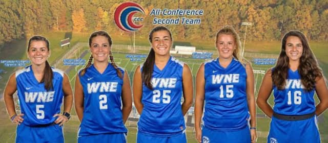 College field hockey players Emily Antinozzi of Rye (No. 25) and Allison Jackson of Mahopac (No. 15) are among the five Western New England University players named all-conference.