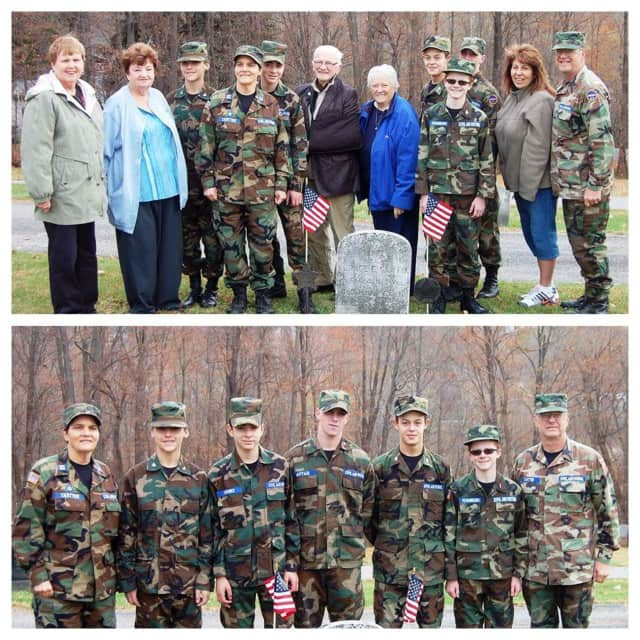 Thom Usher, the Cadets and the Independence Bellies (DAR) placed flags on the veterans gravesites in Beekman.