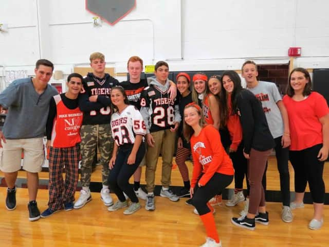 Croton-Harmon High School students wore orange and black to celebrate their school spirit during the annual pep rally.