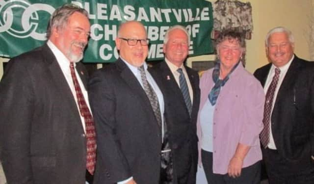 The 2015 Pleasantville Chamber honorees: Bob Camilli, Graeme Goldstein, Doris Sharp
