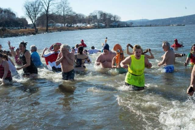 Peekskill's Polar Plunge attracted more than 80 people Sunday and raised $16,000 for college scholarships.