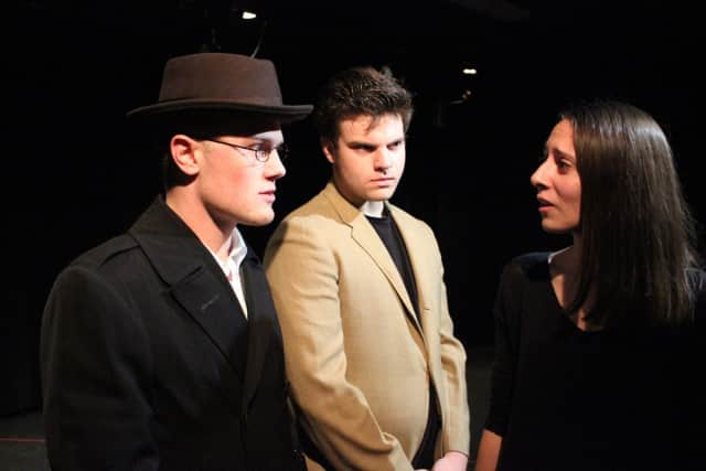 "Sean Larson of Fairfield, center, stars in Theatre Fairfield's ""Pack of Lies."""