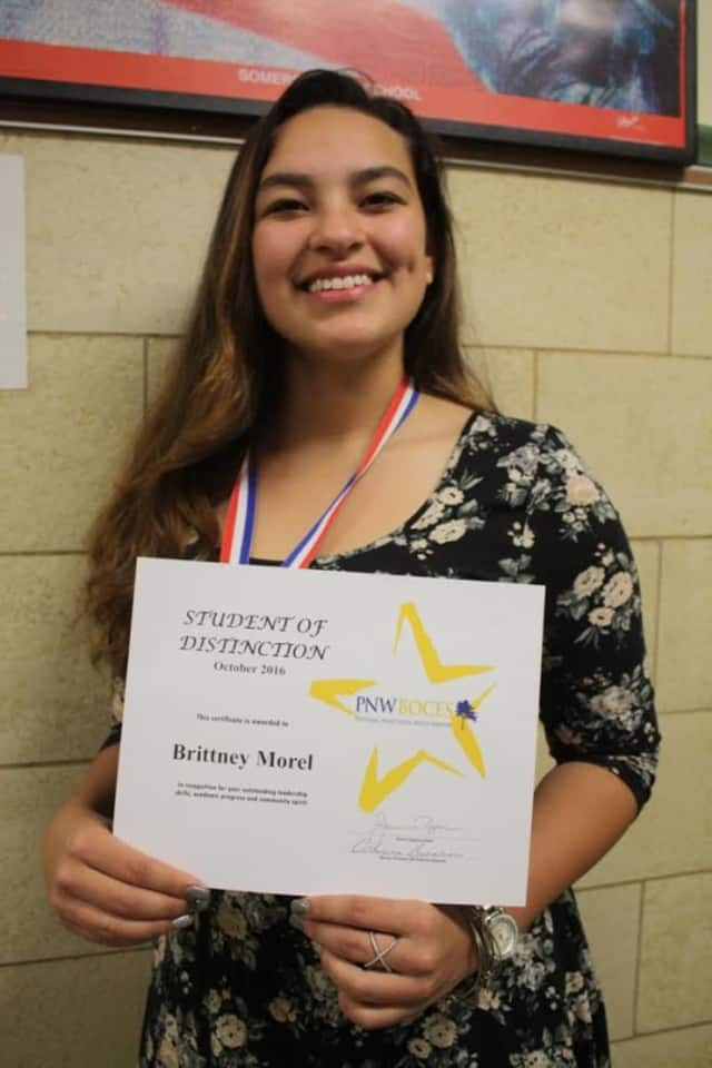 Somers' Brittany Morel, a senior at the Putnam-Northern Westchester BOCES Tech Center, was named a Student of Distinction, an honor only a handful of students there earn each year. The cosmetology student hopes to go to college this fall.