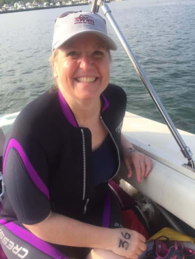 Kim Adler of Shelton, who is battling cancer, is part of a relay team in the 2017 Swim Across the Sound.