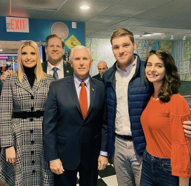 From left, Ivanka Trump, New Hampshire Gov. Chris Sununu, Vice President Mike Pence, J.T. Lewis, and Sophia Vetare are shown in New Hampshire.