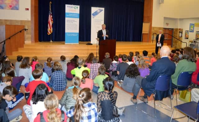 State Rep. John Shaban was part of Samuel Staples Elementary School's ribbon-cutting ceremony for its new solar panels.