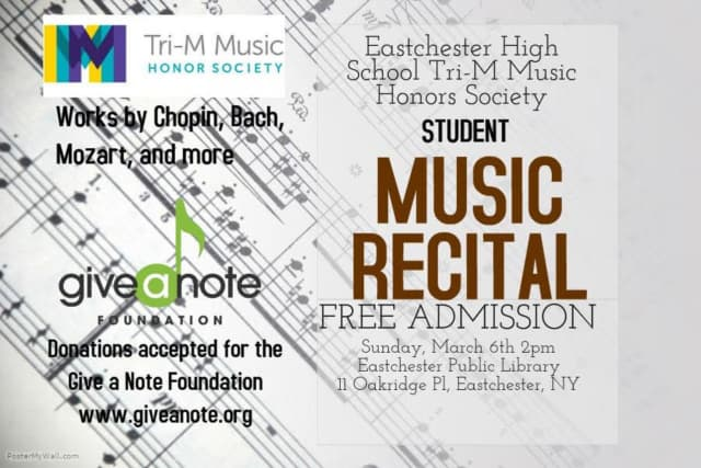 The performances at the student music recital at the Eastchester Public Library will include works by Chopin, Bach, Mozart and more.