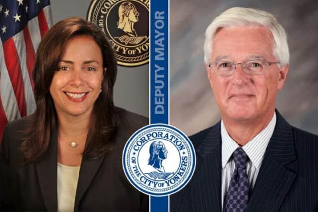 Outgoing Yonkers Deputy Mayor Sue Gerry and future Deputy Mayor Jim Cavanaugh.