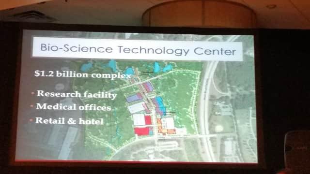 Developers of a proposed $1.2 billion biotech center in Westchester County said they will be seeking tax incentives for the project.